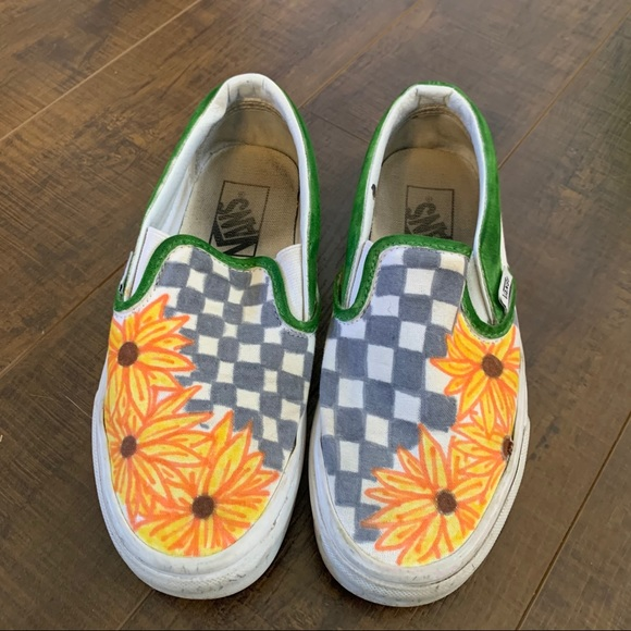Vans Shoes | Handdecorated Sunflower
